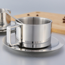 Stainless Steel Tea Coffee Mug Cups Double Wall Insulated Cup with Saucer Spoon Set for Milk Home Kitchen