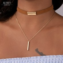 New fashion jewelry 2 layer leather choker collar with bar necklace gift for women girl N2049
