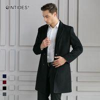QINTIDES 남성 모직 코트 남자 외투 새로운 스타일의 비즈니스 신사 코트 옷깃 재킷 남성