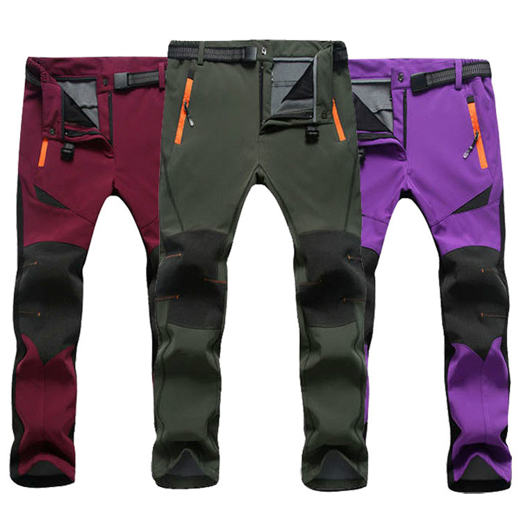 Winter Outdoor Ski Pants Sofe shell Hiking&Camping Women&Men Sport Fleece Climbing Trousers Men Women Winter Hunting