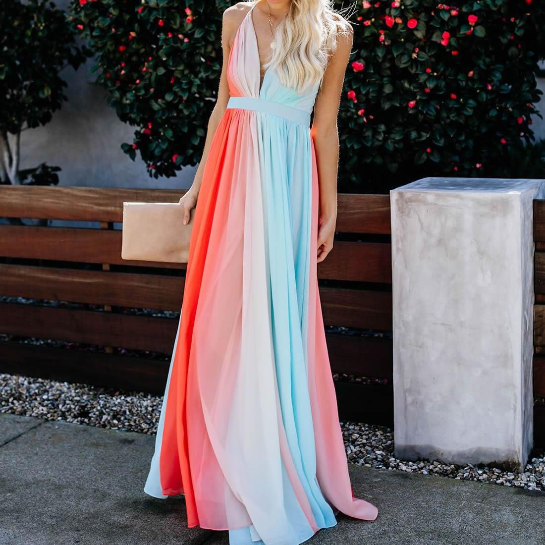 f981923c8 Mujeres gradiente vestido largo verano espalda descubierta transformador  Multi Way vendaje vestido ...