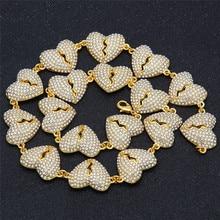 1PC Alloy Rhinestone Love Necklace Heartbroken connecting Bunch of broken heart ornaments Hip hop jewelry