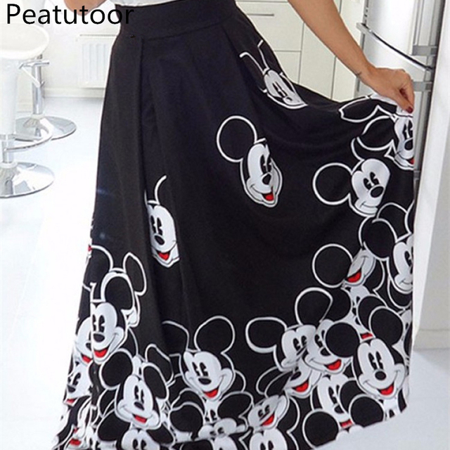 2018 Fashion Maxi Long Skirt Floor Length Ladies Elastic High Waist Muslim Skirts Women Mickey Printed Boho Vintage Midi Skirt
