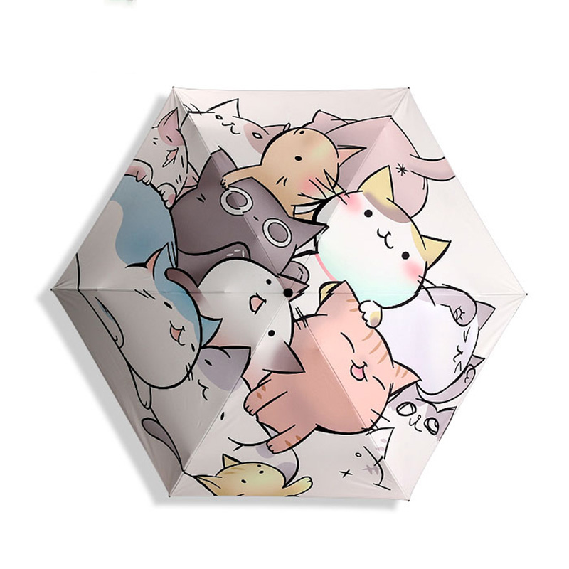 Mini Sun Umbrella Rain Women Cat Black Coating Sunscreen Brand Pocket 5 Folding Umbrellas Kids Guarda Chuva Fashion Paraguas