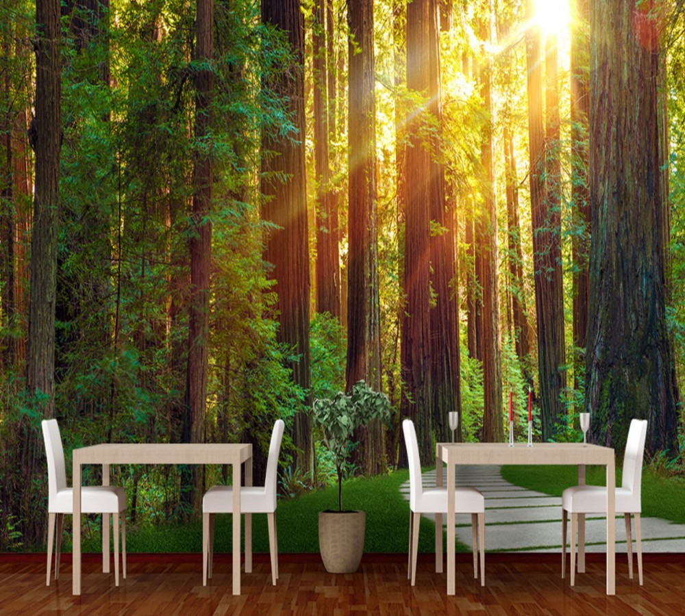 цены Free Shipping 3D Custom Photo Original Forest Background Wall Painting Restaurant Stickers Cafe Decoration Mural Bar Wallpaper