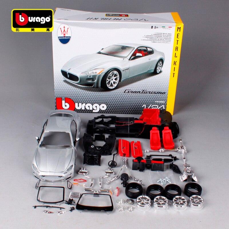 Bburago 1:24 maserati gt gran turismo argent diecast metal modèle de voiture kit résine manuel assembler voiture jouet pour la collecte 25083