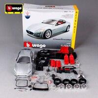 Bburago 1:24 maserati gt gran turismo silver car diecast metal model kit resin manual assemble car toy for collecting 25083