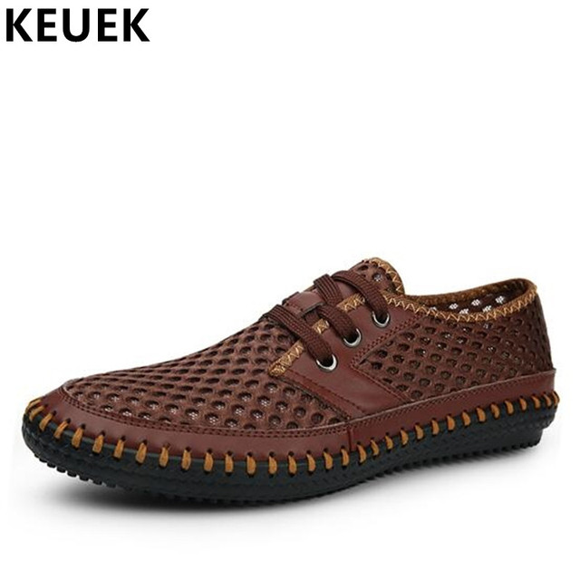7b084505ea03f US $27.7 28% OFF|Summer Men Casual shoes Cut Outs Mesh Breathable Handmade  shoes Large size Soft Lace Up Loafers Male Flats Driving shoes 02C-in Men's  ...