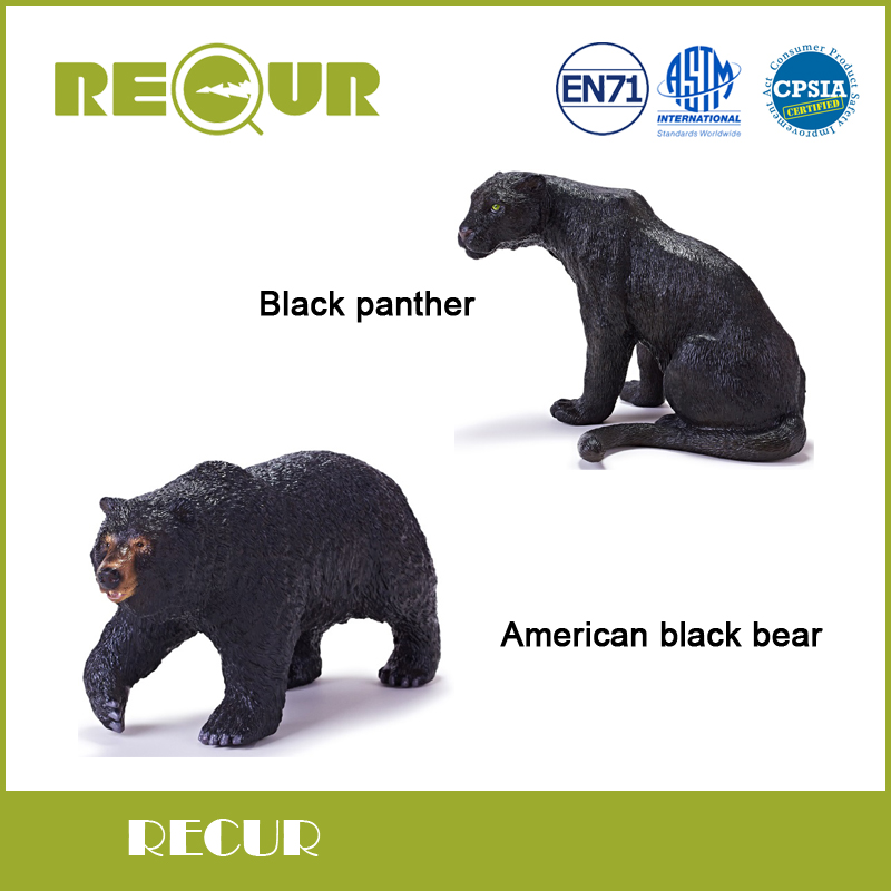 Recur Toys Black panther and American black bear Simulation Model Hand Painted Soft PVC Figures Wild Animal Toy Collection Gift painted by a distant hand – mimbres pottery of the american southwest