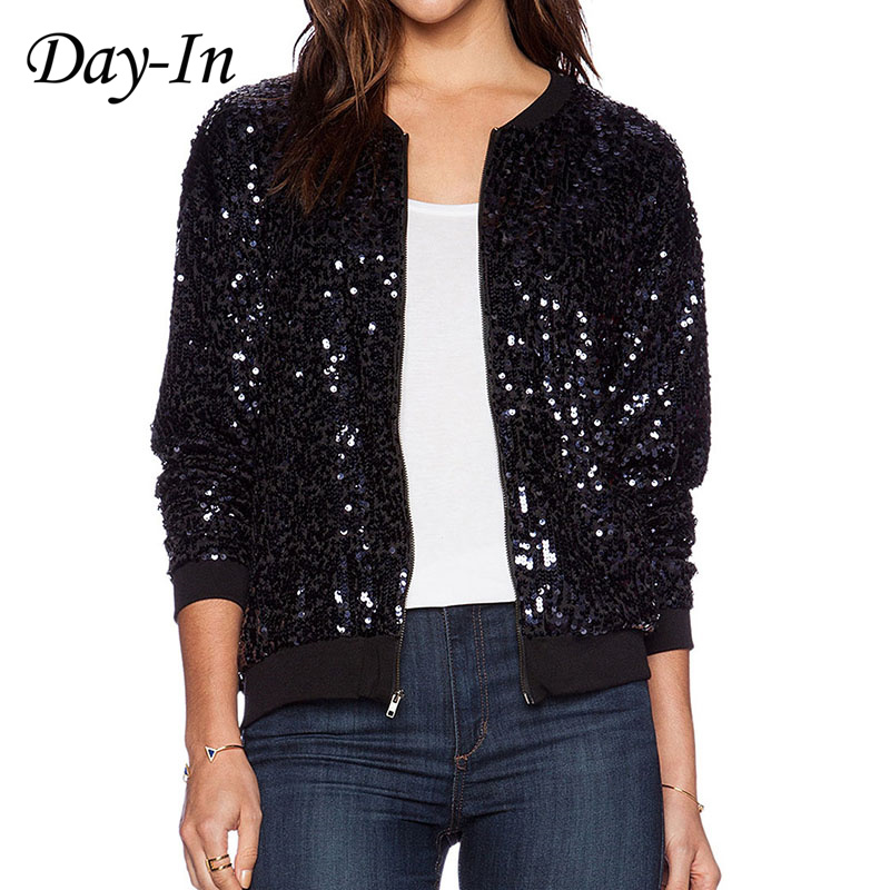 bd90a943d408f Day-In 2016 Black Sequin Coat Bling Bling Long Sleeve Party Jacket Women Bomber  Jacket Plus Size XS-XXL Cazadora Cuero Mujer