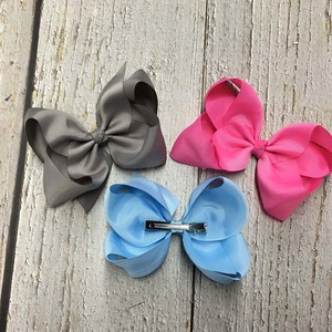 Image 4 - 6 Inch Solid Hair Bow With Clip For Girl,Boutique Ribbon Hair Bow For Kids Classic Handmade Hair Accessories 30pcs/lot