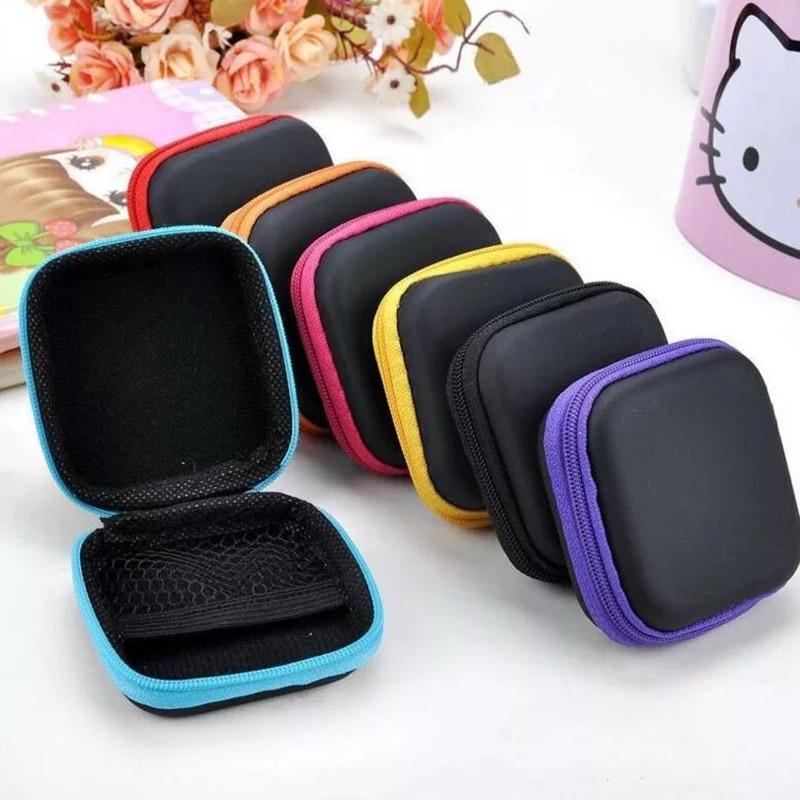 Protective Earphone Storage Box Mini Zipper Hard Headphone Case Travel Carrying Earphone Case For USB Cable Earphones
