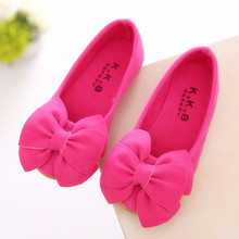 Spring Children Kids Shoes bowknot Princess shoes autumn Baby Girls soft sole flat Pink Yellow Rose