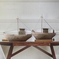 Nordic Resin Retro Hand Made Luxury Sailing Model American Village Style Ship Model Home Furnishing Decoration