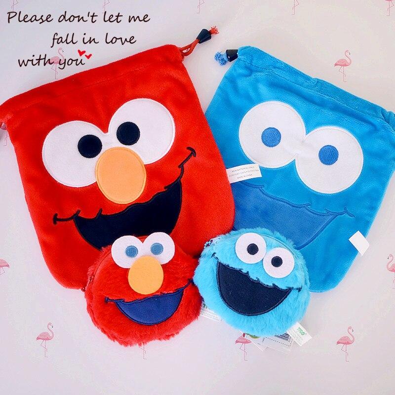 Cool 1PCS Sesame Street Cartoon Drawstring Bags Cute Plush Storage Handbags Makeup Bag Coin Bundle Pocket Purse NEW