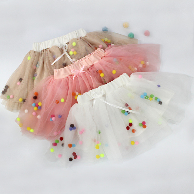 Spring summer Lace Mesh Baby Girl Tutu Skirt Colorful pompom Princess Girls Skirts 1-4Y Children Clothing Tutu ball Pettiskirt