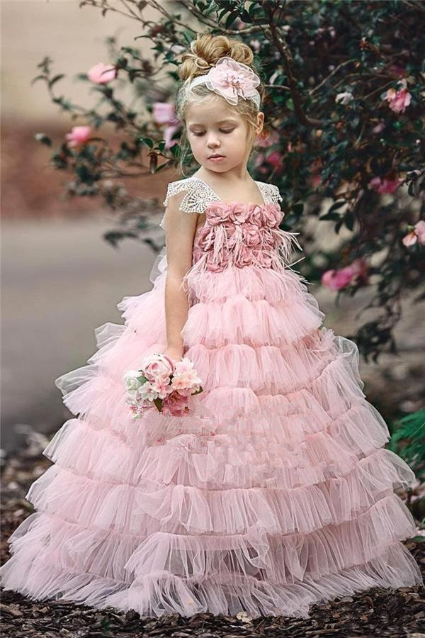 Pink 2019   Flower     Girl     Dresses   For Weddings Ball Gown Cap Sleeves Tulle Lace Tiered Long First Communion   Dresses   For Little   Girls