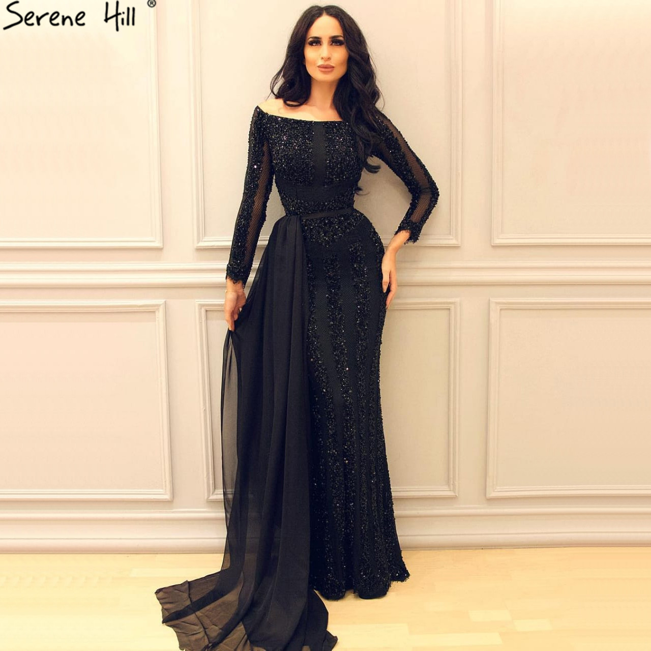 Long Sleeve Black Mermaid Tulle Evening Dress Beading Sequined Evening Gowns Real Photo 2019 Serene Hill  LA6009