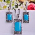 Quadrado azul Colar brincos conjunto de jóias para mulheres vestidos de princesa de prata turco Pendientes Colar