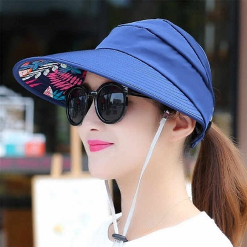 7e83e1731 1PC Women Sun Hats Summer Pearl Packable Sun Visor Hat With Big Heads Wide  Brim Beach Hat UV Protection Female Caps