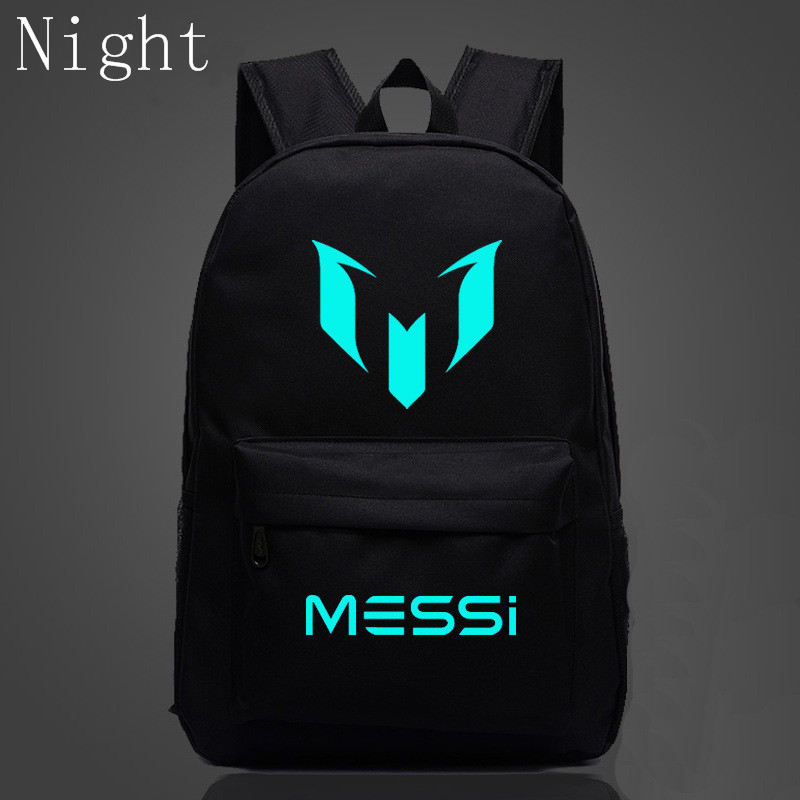 2017 New School Shoulders Bags Messi Backpack For Teenagers Logo Printing Luminous Backpacks For Children Kids Travel Mochila logo messi backpacks teenagers school bags backpack women laptop bag men barcelona travel bag mochila bolsas escolar
