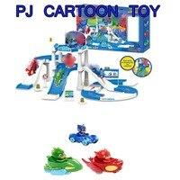 PJ Cartoon Mask Parking Lot Toys Les Pyjamasques Connor Greg Amaya Racing Car Track Toy Children