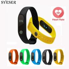 Syeser banda pulsera pulsómetro m2 inteligente sleep rastreador de fitness podómetro pulsera smartband para android pk mi banda 2