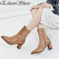 EshtonShero Women Ankle Boots High Heels Shoes Woman Knitting Leather+PU Brown Pointed Toe Ladies Motorcycle Boots Size 3 12