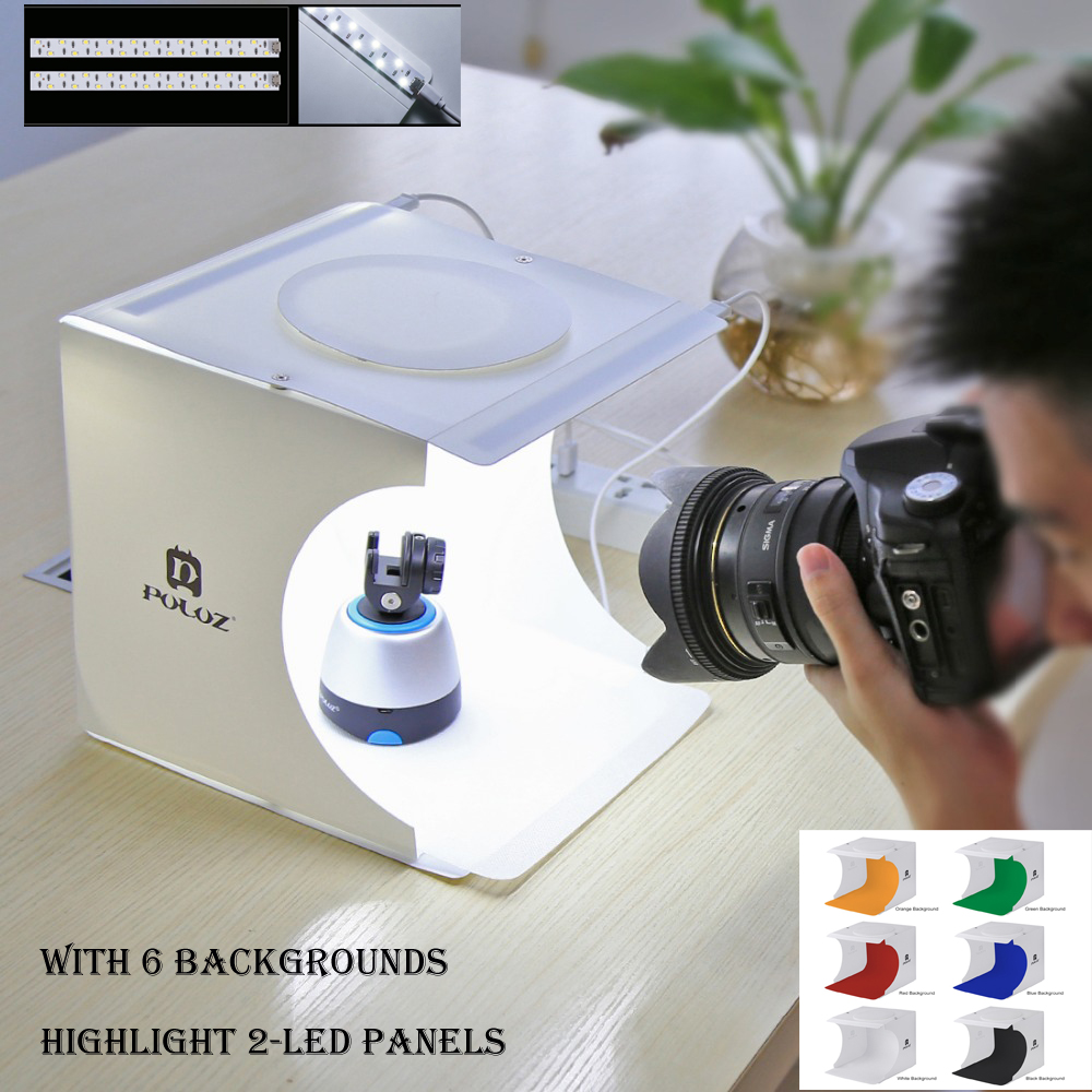 67fa725341c39 Mini Dobrável Mesa de Luz Fotografia Photo Studio Softbox 2 Painel de LED  Caixa de luz Suave Fundo Da Foto Kit caixa de Luz para DSLR câmera