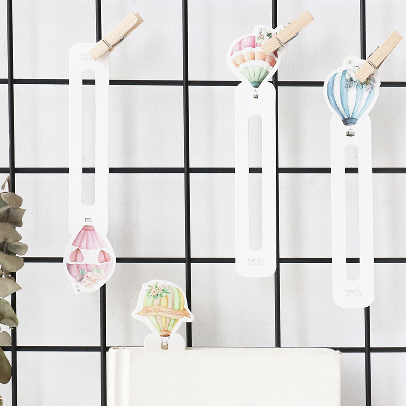 30 Pcs/pack Romantic Balloon Bookmark Paper Cartoon Animals Bookmark Promotional Gift Stationery Film Bookmark
