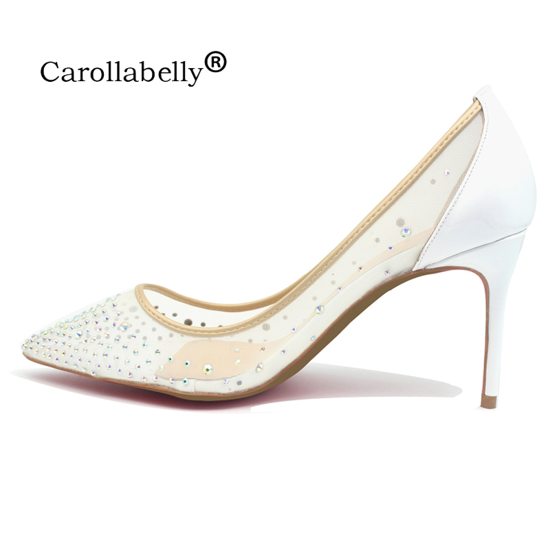 Brand Shoes Sheepskin Bling Sexy Pumps Pointed Toe Women White High Heel Mesh Party Wedding Stiletto Shoes Thin Heels