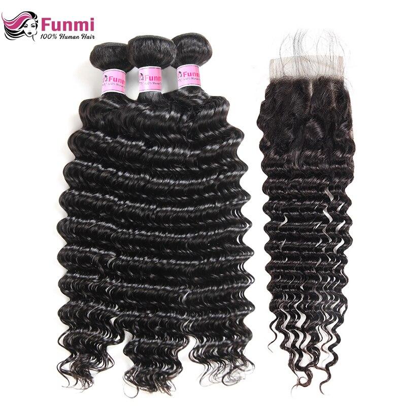 Funmi Hair Peruvian Deep Wave Bundles With Closure Free/Middle/Three Part 3 Bundles With Closure 100% Unprocessed Virgin Hair(China)