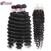Funmi волосы перуанские глубокие волнистые пучки с закрытием бесплатно/средний/три части 3 пучки с закрытием натуральные неокрашенные волосы