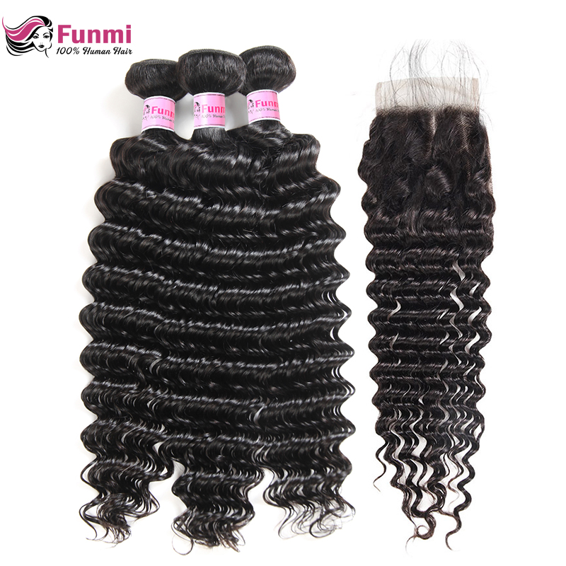 Funmi Hair Peruvian Deep Wave Bundles With Closure Free/Middle/Three Part 3 Bundles With Closure 100% Unprocessed Virgin Hair