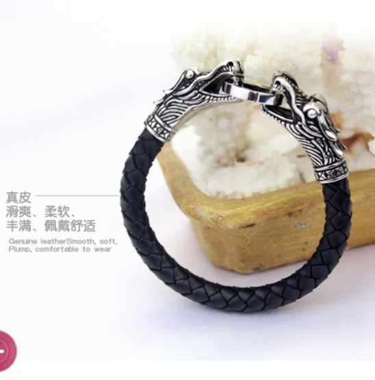 Кожаный тибетский серебряный мужской браслет из титана Модные мужские винтажные аксессуары parataxis dragon Браслет мужские украшения