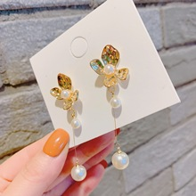 Elegant Flower Pearl Long Earrings For Women 2019 New Personality Fashion Jewelry Pendientes Gold Color