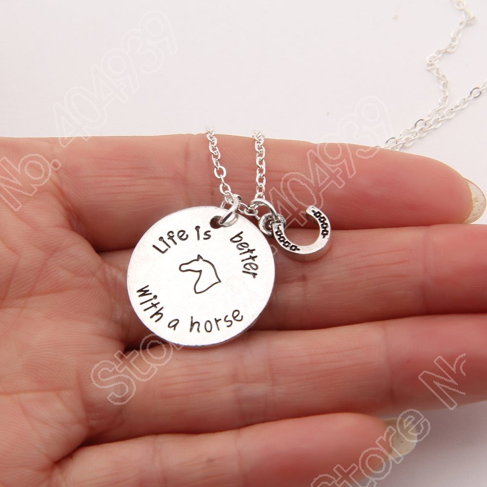 1154 life is better with a horse shoe pet print necklace memorial tag necklaces pendants charm