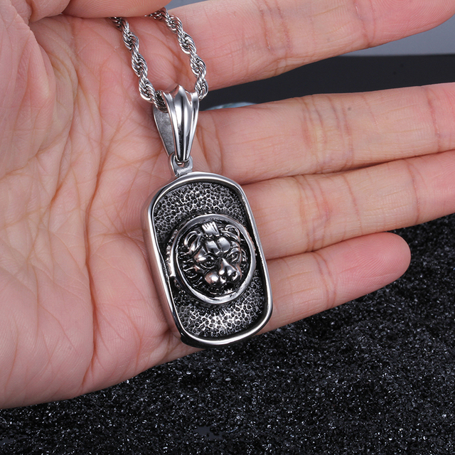 XMAS Gifts Biker 316L Stainless steel Tiger Dog Tag Pendant Mens