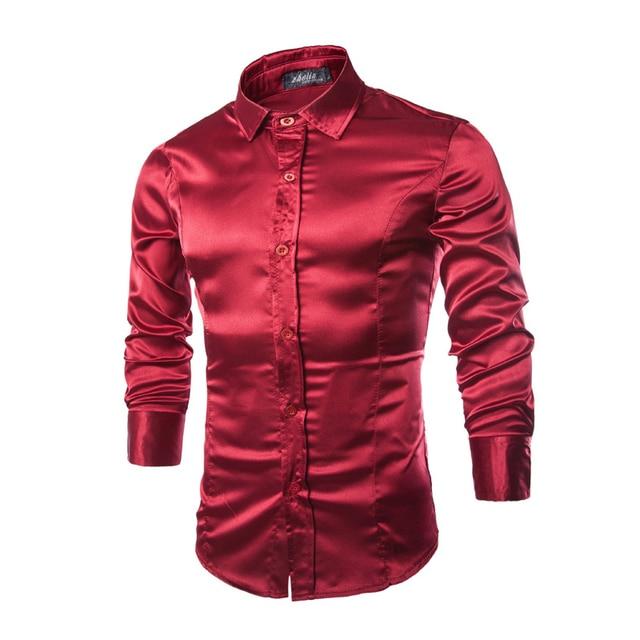 Мужская Тенденция Ночной Клуб Покрытием Металлик Хэллоуин 3 Цвета на Пуговицах Рубашки Стильный Блестящий Длинные Рукава Рубашки Для Мужчин