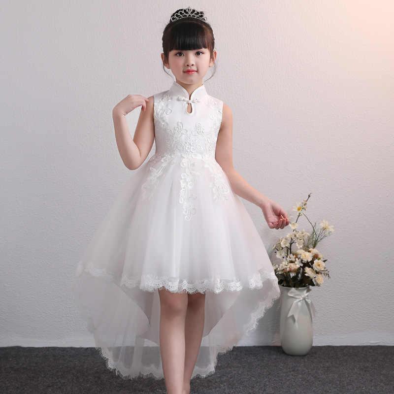 Вечернее платье с воротником-стойкой; детская одежда; платье с цветочным узором для девочек; одежда для свадьбы; платье принцессы для первого причастия; костюм для малышей