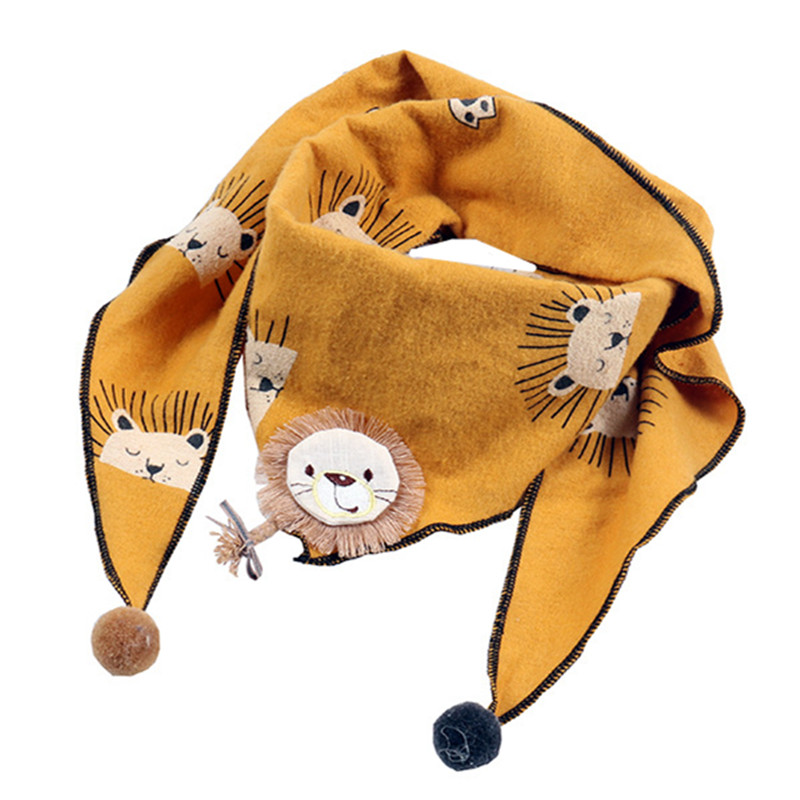 New Autumn Winter Children Cotton Linen Scarf Cute Cartoon Lion Print Triangle Scarf Toddler Boy Girl Neck Wear Baby Scarf Bibs