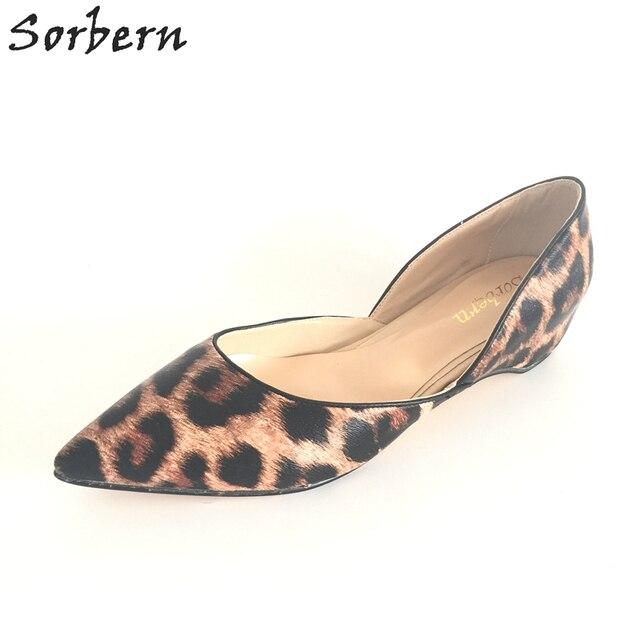 Leopard Flat Shoes Women Slip-ons Pointed Toe Dress Shoes Custom Bottom Dress Shoes Available Plus Size US4-U15 Flats Party Shoe