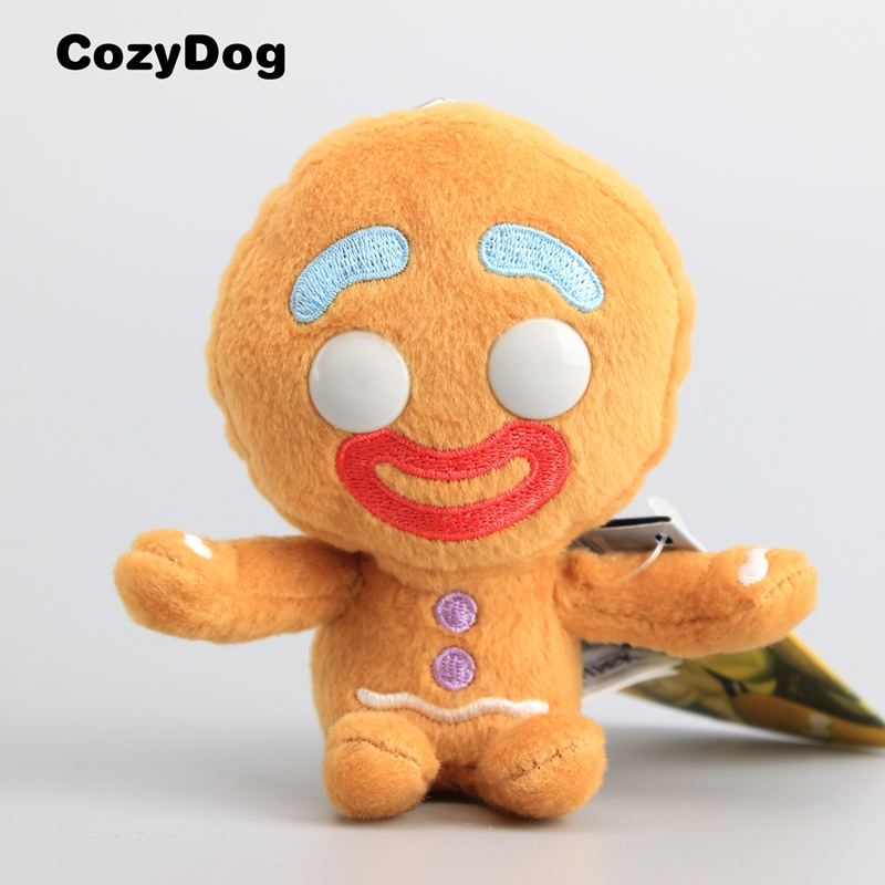 11 CM Anime Shrek Gingerbread Man Plush Keychain Mini Pendant Bigheadz Soft Stuffed Doll Toys For Children Gift