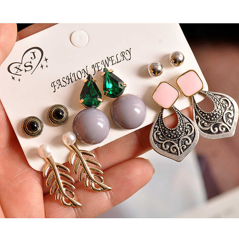 Hot selling fashion gorgeous women jewelry girl boy birthday party ear nail green gray pink Earrings mixed  Gift Free Shipping