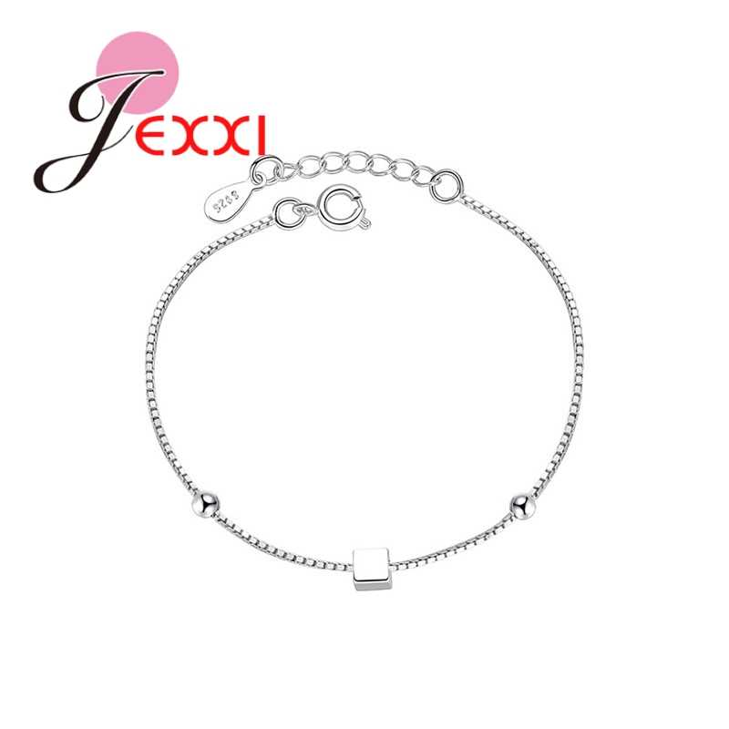 New Silver 925  Color Square Bracelet & Bangle Adjustable Charm Bracelet For Women Bridal Wedding Jewelry Accessories