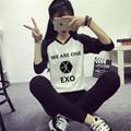 Exo kpop осень зима женщин мы один рубашку с длинными рукавами к - поп EXO студенток топы балахон Outerwears кофты одежда