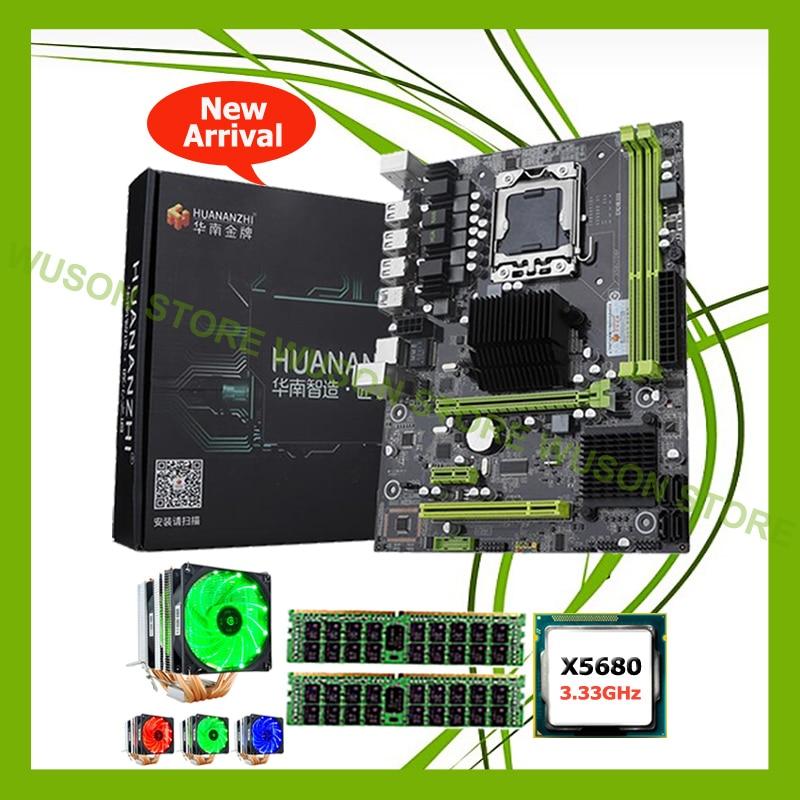 Amazing famous brand motherboard HUANAN ZHI X58 Pro motherboard with CPU Intel Xeon X5680 3.33GHz with cooler 16G DDR3 REG ECC new x58 motherboard desktop computer lga1366 cpu pin supports ddr3 16g ecc reg serve ram sata2 0 usb2 0