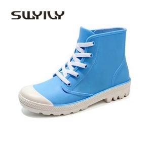 Image 5 - SWYIVY ผู้หญิงรองเท้า High TOP รองเท้าผ้าใบฤดูใบไม้ร่วง 2018 หญิง PVC แฟชั่น Rainboots รองเท้าแบน Lady Wellies รองเท้าฝน 40