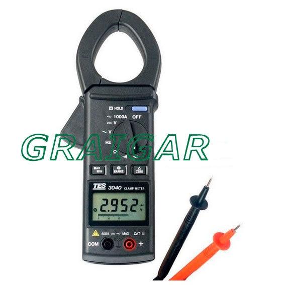 TES-3040 AC Clamp Meter Digital Multimeter Resistance