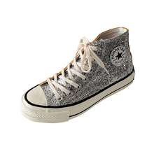 Bling Sequin High Help Canvas Shoes Women Sneakers New Black Sliver Lace Up Casual Womens Woman Trainers